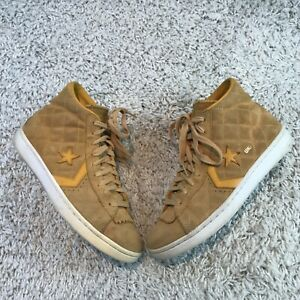 Converse Undefeated Mens Shoes UK 9.5 Eur 44.5 Yellow Leather Hi Top Trainers