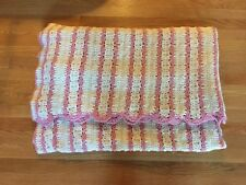 Hand crocheted Pink And Ivory washable Afghan Blanket