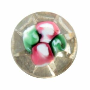 Large 13mm Czech antique pink green floral lampwork glass rhinestone