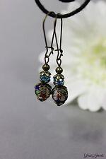 Glass Jewels Bronze Ohrringe Ohrhänger Vintage Cloisonne Perlen Blau #I016
