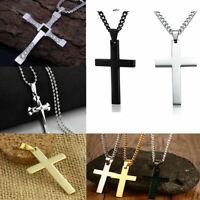Mens Women Chain Necklace Cross Stainless Steel Pendant Cross Jesus Gift