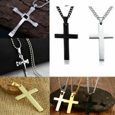 Cross Pendant Necklace Silver Stainless Steel Unisex's Chain Cross Men Boys
