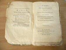 CODE DU DIVORCE ET DE l'état civil des citoyens  1792 MAURICE MEJAN RARE  EO