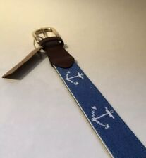 FOXCHASE RUN HANDMADE NEEDLEPOINT BELT NAUTICAL ANCHOR STITCHED ROYAL BLUE 42