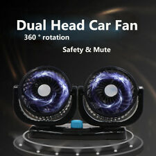 Dual Head 12V Car Fan Portable Vehicle Truck 360° Rotatable Auto Cooling Cooler