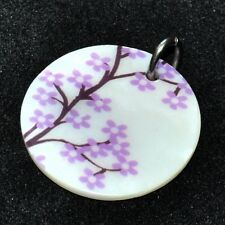 Heart Pendant Mother-of-Pearl Flowers Purple 40 Steel Jewel Pendant