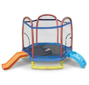 Bouncy, Kids' 7-Foot Trampoline with Slide, Enclosure and Padded Frame
