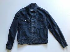 Vintage 90s Grunge Distressed Mineral Wash Denim Jacket MENS SMALL Logo Buttons