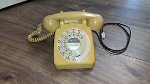 Vintage Retro GPO 706 Rotary Dial Telephone - Yellow / Cream