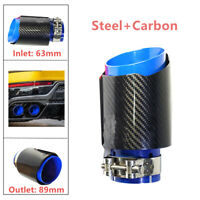 2.5'' 63MM Car Exhaust Pipes Muffler Tip Tail End Stainless Steel Carbon Fiber