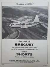11/1964 PUB SHORT BROTHERS HARLAND BREGUET 941 STOL TRANSPORT ORIGINAL AD