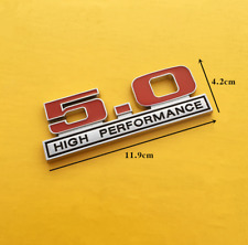 Red & Chrome 5.0 High Performance 3D Stick Emblem Fit Ford Mustang