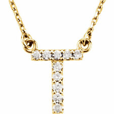 14k Yellow White or Rose Gold Diamond Initial Letter T Pendant Necklace 18""