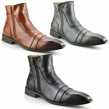 Mens New Leather Chelsea Dealer Work Formal Ankle Cowboy Biker Boots Shoes Size
