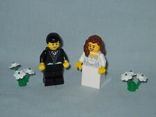 NEW LEGO WEDDING BRUNETTE  BRIDE AND BLACK HAIR GROOM WITH TUX MINIFIGURES