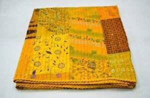 Indian Handmade Silk Patola Patchwork Kantha Double Bedspread Throw Blanket