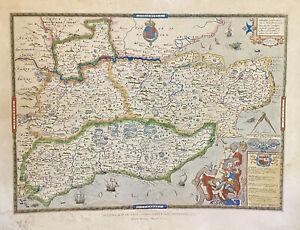 Vintage Framed Saxton's Map Of Kent, Surrey, Sussex & Middlesex 1575