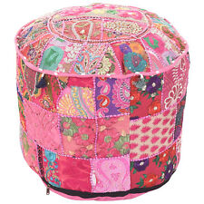 Indian Pouf Pink Decorative Foot Stool Ethnic Pouf Storage Ottoman Vintage Bench