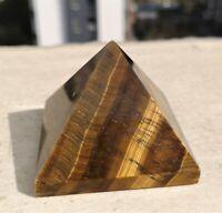"""149g Natural Tiger Eye Pyramid Quartz Healing Crystal  Rough Polished 2.2"""""""