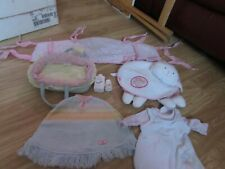 More details for 7 items of baby annabell doll accessories cot bumper/moses basket/bag/clothes