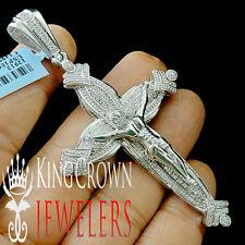 Mens Real Diamond 14K White Gold Finish Crucifix Jesus Cross Pendant Charm 3.5''