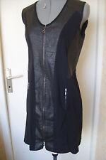 SUNLIGHT MEGEVE Neuve! Superbe robe  noire, bi-matière simili cuir .T1.