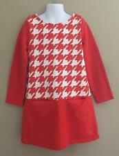 Girls Sz 6 Gymboree PREP PERFECT Fall Orange Herringbone Pocket Dress