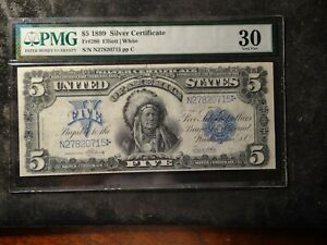 1899 $5 Silver Certificate Indian Chief Note PMG 30 FR#280 No vertical Fold