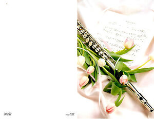 "Wedding Bulletin Pink, Flute, Music Sheet, Flowers 8 1/2"" x 11""  PACK OF 50"