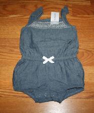 NWT Girls CARTERS Blue Denim White Summer Romper Size 12 Months