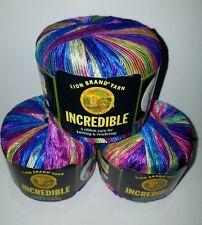 NEW Lion Brand Incredible Ribbon Yarn Knitting Crocheting Lot of 3 CARNIVAL