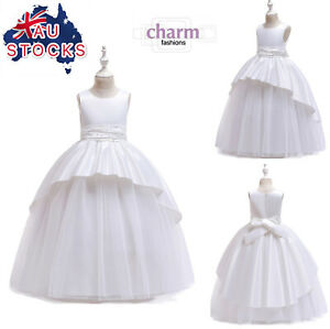 Flower Girl Communion Prom Princess Pageant Party Wedding white dress