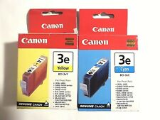 2 New Genuine Canon BCI 3e Ink Tank Cartridges BCI-3eC Cyan BCI-3ey yellow