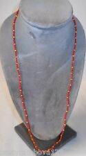 """NECKLACE, 32"""" SINGLE-STRAND 1mm GLASS SEED BEADS, LIGHT RED & YELLOW, NICE!"""