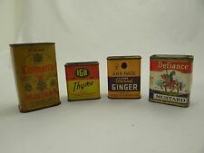 LOT OF 4 VINTAGE SPICE TINS~Colman's/Defiance Mustard, Ann Page Ginger+IGA Thyme