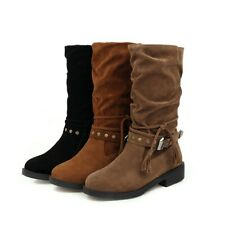 Womens Rivets Riding Mid-calf Boots Round Toe Low Heel Combat Casual Buckle Shoe