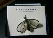 NIB~CRAZY HORSE Liz Claiborne FLUTTER Wings Bumble Bee Pin Brooch Silver.