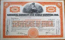 'National Conduit & Cable Company, Inc.' 1923 Stock Certificate - Orange