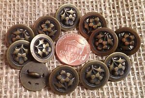 """12 Brass Tone Metal Flower Floral Petunia Shank Buttons Almost 5/8"""" 15mm # 7255"""