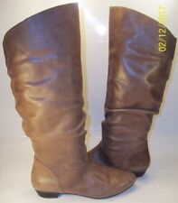 Nine West SUCCESS Wos  Shoes US 6 M Brown Leather Tall Boots Slouchy low heels