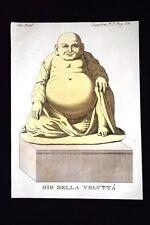 Ni-Ni-Fo Dio della voluttà Incisione colorata a mano del 1820 Mitologia Pozzoli