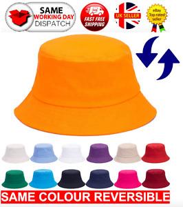 Cotton Bucket Hat Adults Mens Ladies Festival Fishing Bush Sun Beach Summer Hat
