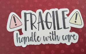 48 FRAGILE HANDLE WITH CARE  - SHAPED STICKERS - PINK & YELLOW