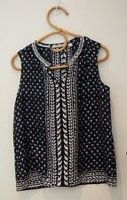 Trenery Navy & White Silk Top    ~Size Small~