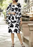 Ashro Sammi Plus 24W White Black Floral Career Church Peplum Skirt Suit Set