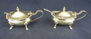 SHEFFIELD COOPER BROTHERS & SONS STERLING SILVER CONDIMENT  MUSTARD POTS SPOONS