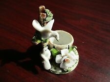 "Vtg Two(2) Dove 2 1/2"" Tall White Floral-Berries Bisque Porcelain Candle Holder"