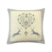"""FILLED CHRISTMAS REINDEER HEART WOVEN COTTON GINGHAM SILVER GREY CUSHION 17"""""""