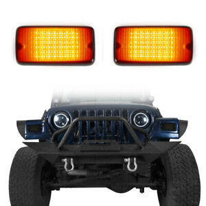 2Pcs Fender Flare Turn Signals w/ Amber LED Light for 1997-2006 Jeep Wrangler TJ