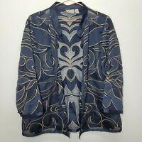 Chicos Travelers Jacket Size 3 navy blue w gold embroidery open front sheer